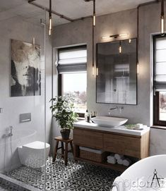 Bathroom design ideas are very attractive. For those of you who are looking for inspiration for a luxurious, modern bathroom design, to a simple bathroom design. Industrial Bathroom Lighting, Bathroom Lighting Design, Industrial Interiors, Bathroom Styling, Industrial Style, Bathroom Designs, Bathroom Ideas, Farmhouse Lighting, Bath Ideas