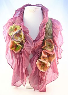 sheer scarf with felted roses