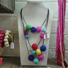 Pom pom necklaces @ yinnar general store- made bye meg