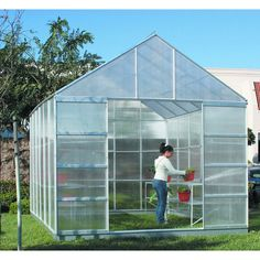 One Stop Gardens® 93358 10 ft. x 12 ft. Greenhouse with 4 Vents Diy Greenhouse Plans, Greenhouse Supplies, Small Greenhouse, Greenhouse Wedding, Greenhouse Panels, Outdoor Greenhouse, What Is A Conservatory, Aluminium Greenhouse, Green House Design