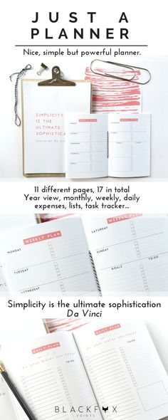 Just a planner, coral pink edition. Nice, simple, colorful and powerful planner. Printable Planner Pages Inserts in A5, A4 and letter size. As the title says, a nice and simple but robust planner. A white canvas to customize as you want and make it work for you. It´s printable and undated, features that make it more customizable. One month you might need a week in two pages layout, and another month you might prefer a day in one-page layout.