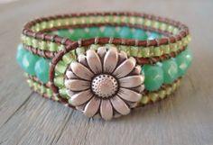 Beaded leather cuff bracelet 'Country Morning'  aqua seafoam, lime green, opal glass, daisy, luxe tropical boho beach glam. $90.00, via Etsy.