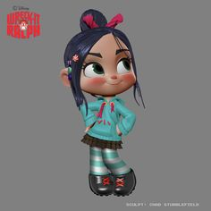"Model of Vanellope From the movie Wreck-it Ralph. From Chad Stubblefield: ""Vanelope (sic) design sculpt posed."""
