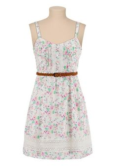 Belted Floral Print Dress with Lace available at #Maurices