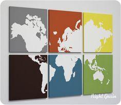 Multi Colored Custom Map of the World Screen Print by RightGrain. $145.00 USD, via Etsy.