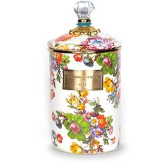 MacKenzie-Childs Flower Market Canister/Large (€83) ❤ liked on Polyvore featuring home, kitchen & dining, food storage containers, apparel & accessories, white, mackenzie childs canisters, lid container, round container and white canisters