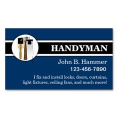 Handyman Business Cards. This is a fully customizable business card and available on several paper types for your needs. You can upload your own image or use the image as is. Just click this template to get started!