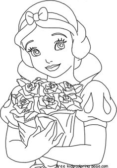 Princess Snow White Playing With Animal Coloring Pages