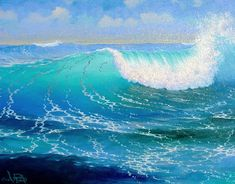 http://www.lorenadams.com/current_available_originals/evening_splendor.html  ~~~Loren Adams is a man known for his translucent waves and intellectually provocative, surreal, land and seascapes. His paintings possess a quality that transcends time and space. They seem to be neither of the future nor of the past-they are like his waves, an onrushing reality.