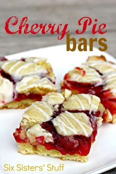 Six Sisters Cherry Pie Bars are so easy and taste like you spent hours making this decadent dessert! 13 Desserts, Cookie Desserts, Cookie Recipes, Delicious Desserts, Dessert Recipes, Yummy Food, Valentine Desserts, Plated Desserts, Dessert Ideas