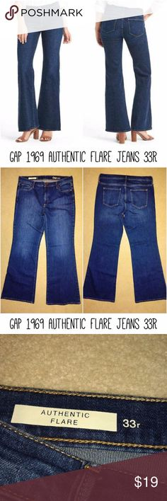 "Gap 1969 Authentic Flare jeans 33R / 16R Gap 1969 Authentic Flare jeans 33R / 16R EUC (Summer 2016)  Purchased last year. Color is Stone blue. Worn a few times. EXCELLENT CONDITION!  ** The first pictures are stock photos from the GAP website.  Waist ~37"" Rise ~11"" Inseam ~33"" GAP Jeans Flare & Wide Leg"