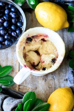 This eggless lemon blueberry mug cake is vegan friendly and makes one convenient serving. Just mix up the batter, microwave, and enjoy. You'll love the juicy blueberries and tangy lemon flavor in this mug cake! Quick Easy Desserts, Easy Meals, Cooking Time, Cooking Recipes, Lemon Mug Cake, Single Serve Desserts, Blueberry Cobbler, Cake Recipes From Scratch, Homemade Cakes
