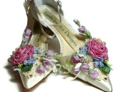Garden Woodland Fairytale Bridal Shoes Covered With Flowers Spring Wedding Shoes