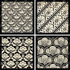 Digital collage sheet of Black and White Bombay Silk in 2.5 inch squares -- piddix no. 758