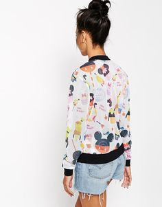 Enlarge ASOS Bomber in Open Mesh with Disney Solar Pop Print
