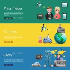 Horizontal Mass Media Bunners Set by macrovector Horizontal banners set of mass media industry with news presenters tv and radio broadcasting cartoon vetor illustration. Editable