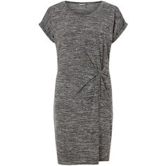 Miss Selfridge Twist T-Shirt Dress, Grey ($17) ❤ liked on Polyvore featuring dresses, mini dress, tshirt dress, short sleeve dress, sleeve maxi dress and grey t shirt dress