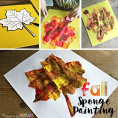 Fall sponge painting art by Proud to be Primary
