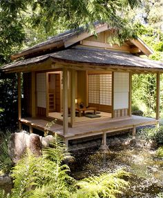 Japanese Tea House Design Ideas, Pictures, Remodel and Decor - Japanese Architecture Bungalow, Japanese Tea House, Tea House Japan, Traditional Japanese House, Japanese Style Tiny House, Japanese Gardens, Traditional Benches, Japanese Home Design, Japanese Homes