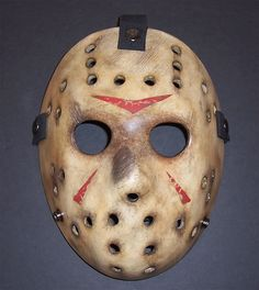 I seriously am watching Party City for a Jason Voorhees Hockey Mask just like this for my Halloween costume/props collection :) Halloween Masks, Scary Halloween, Halloween Makeup, Jason Halloween Mask, Halloween Ideas, Halloween 2017, Halloween Stuff, Halloween Crafts, Halloween Party