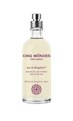 Ritual from Bangalore l Eau de Bengalore®, Cinq Mondes l Discover a body mist for both body and mind! Spa Paris, Hair Mist, Body Mist, Bergamot, Mists, Vodka Bottle, Natural Hair Styles, Bubbles, Perfume Bottles