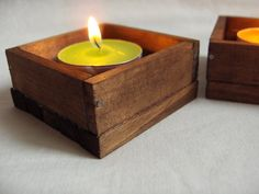 SET OF TWO Wooden candle holders walnut decor by Paladim on Etsy White Candle Holders, Wooden Candle Holders, Tea Light Candles, Tea Lights, Tabletop, Really Cool Stuff, Shelves, Color, Etsy