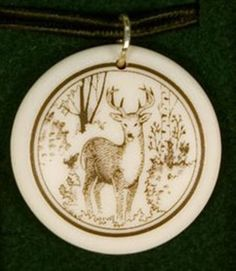 Whitetail Deer 2 Totem Round Shaped Porcelain Pendant ~ 18+4 inch extender Chain