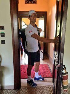 Novak Djokovic leaving the house.