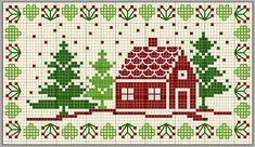 Country Christmas cross stitch, free pattern, lots of other free patterns Cross Stitch House, Xmas Cross Stitch, Cross Stitch Samplers, Cross Stitch Charts, Cross Stitch Designs, Cross Stitching, Cross Stitch Embroidery, Cross Stitch Patterns, Embroidery Patterns