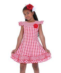 Love this Red Gingham Angel-Sleeve Dress - Toddler & Girls on #zulily! #zulilyfinds