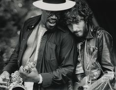 7/23/75, Clarence Clemons and Bruce Springsteen during a performance by Springsteen and the E Street Band in Lennox, Massachusetts —- Photo by Charlie Borst/Corbis