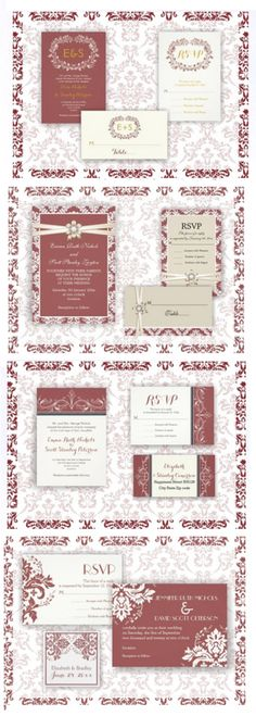 Marsala wedding invitations suites with matching RSVP card and stationery! Four elegant designs!