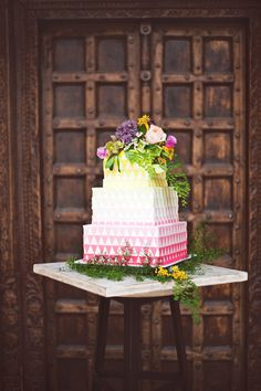 Sweet Idea: Neon Geometric Ombre Cake