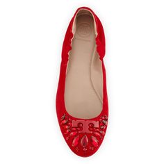 Tory Burch Delphine Crystal Logo Flat ($300) ❤ liked on Polyvore featuring shoes, flats, tory burch flats, tory burch footwear, tory burch and tory burch shoes