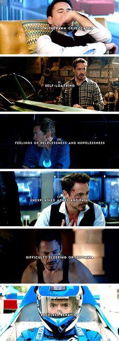 Tony Stark + Signs of Depression
