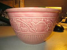 "7 1 4"" Antique Pink (Possibly McCoy or Hull) Mixing Bowl w/ Tea Pots Spoons"