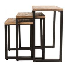 Kilo - Tables gigognes en métal et chêne massif - Habitat | Maison ...