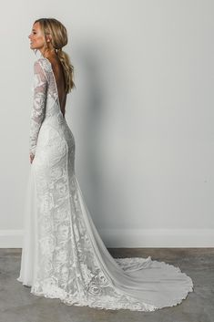 Stunning Embroidered Lace Backless Sheath Wedding Dress / Bohemian Bridal Gown with Long Sleeves, Open Back and a Train. Dress by Grace Loves Lace Wedding Dress Trends, Dream Wedding Dresses, Bridal Dresses, Wedding Ideas, Long Sleeved Wedding Dresses, Bridesmaid Dresses, Ling Sleeve Wedding Dress, Beach Dresses, Backless Wedding Dress With Sleeves