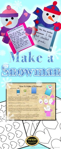 Cute snowman craft! Contains templates to make a snowman craft writing frame. Includes templates for all parts that can be run directly onto construction paper, and step-by-step directions, plus two optional writing activities.