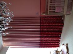 Custom LLI color block drapes in a little girl's room.