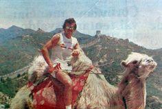 Gilmar Rinaldi, goleiro do Inter, na Muralha da China em 1984