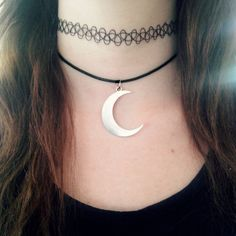 Awesome hand made choker The cute tibetan silver pendant comes on a 15 inch black nylon cord with a lobster clasp in the Back. Nickel and lead 1990s Trends, Black Nylons, Lobster Clasp, Futuristic, Cord, Chokers, Trending Outfits, Tattoos, Pendant