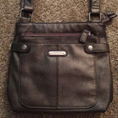 Metallic Brown Crossbody Bag Adjustable straps, two outside pockets and one inside. No flaws! Low price as I would like to give this item a new home, I just don't use it anymore. No trades. Rosetti Bags Crossbody Bags