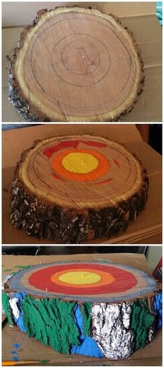 Create a model of the earth using a tree stump, to help teach layers of the earth