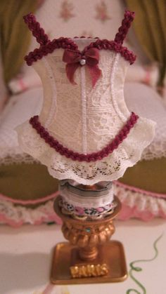 Dollhouse Miniature, Corset, OOAK, Doll Accessory, 1:12th, Stand, Display, Hat Stand, Lingerie, Victorian, Edwardian by LaBoutiqueRueDeParis on Etsy