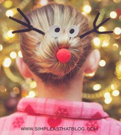 Goofy Rudolph Hair Bun | What a fun Christmas party hairstyle idea!