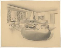 Jean ROYERE living room project with fireplace, about gouache, Les Arts Décoratifs Museum, Paris. With the famous couch. Vine Wall, Types Of Furniture, Corner Bathtub, Bean Bag Chair, Lounge, Couch, French, Living Room, The Originals