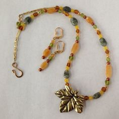 Autumn hued necklace and earring set.  Golden by LittleShopOfFrill
