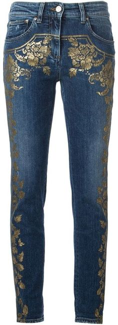 Shop Roberto Cavalli foil floral print skinny jeans in Luisa World from the… Diy Jeans, Painted Jeans, Painted Clothes, Estilo Denim, Denim Fashion, Womens Fashion, Mode Jeans, Denim Ideas, Denim Crafts