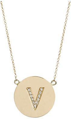 Violet's Valentine's List: Jennifer Meyer Yellow Gold & Diamond 'V' Pendant Necklace
